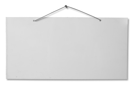 metal post: empty white lacquered aluminum sheet hanging with wire and nail, blank cartel isolated on white, empty grunge banner