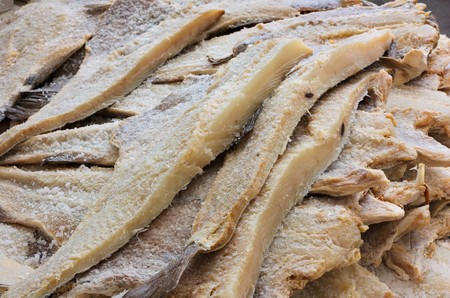 boned: dried salted cod, fillets of fish preserved through salting Stock Photo