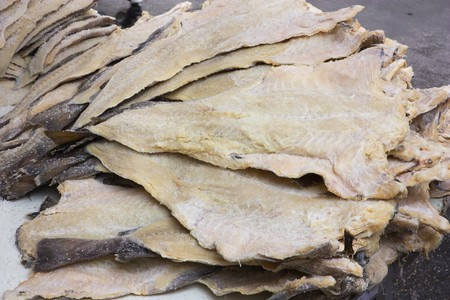 cod: dried salted cod, fillets of fish preserved through salting Stock Photo