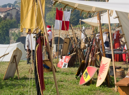 reenactment: TERRA DEL SOLE, ITALY - OCTOBER 3: medieval camp  Tempus belli on October 23 2010 in Terra del sole, Italy. Festival devoted to the historical re-enactment of age 1350-1450