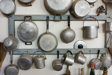 set of old kitchen tools - retro equipment of grandmother cooking Stock Photo
