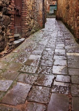 old narrow alley in tuscan village - antique lane with pavement of stone - tuscany, italy Stock Photo - 8324187