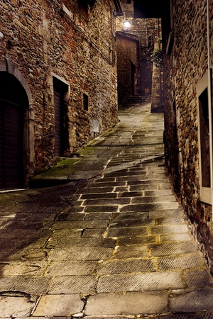 street corner: tuscan dark alley at night, dirty corner of street in the old village