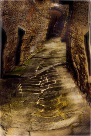 junkie drunk vision, hallucination in old dirty alley, effect of drug or alcohol photo