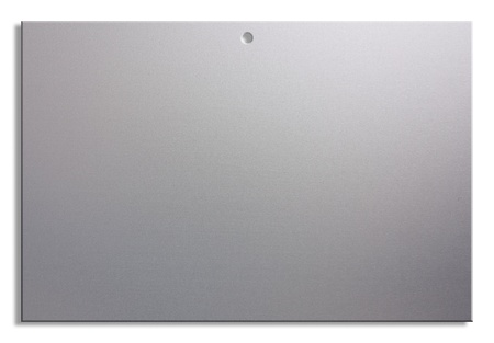 satined: empty notice of satin aluminum, blank sheet with hole for hanging - clipping path