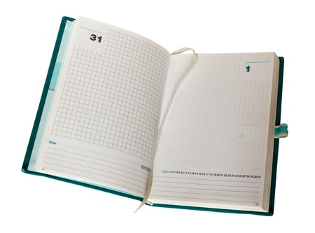 empty opened agenda, organizer with blank page, last first day month year 31 1, clipping path photo