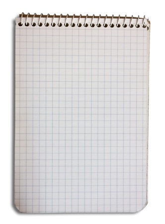 blank page of opened notepad, empty squared paper, open notebook sheet isolated - clipping path