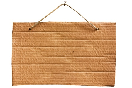 empty notice of cardboard sheet hanging with string and nail, blank signboard isolated photo