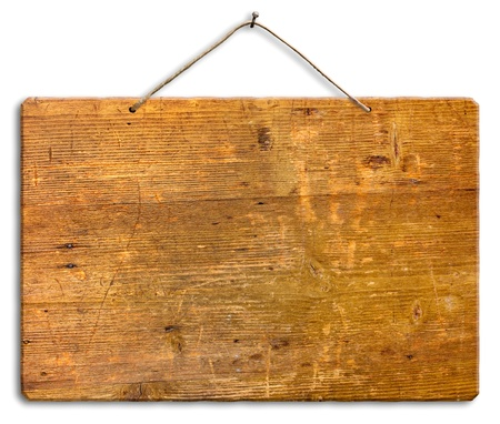 empty wooden signboard hanging with string and nail, blank wood notice board, isolated