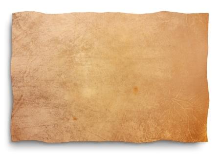 edicto: pergamino de piel de cabra, hoja en blanco para mapa, antiguo banner, panel de se�al, edicto antiguo, manuscrito - textura de cuero vac�a aislado Foto de archivo