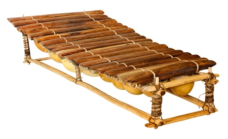 balafon, african musical instrument of wood and gourds, handmade traditional tuned percussion, wooden xylophone for afro music Stock Photo
