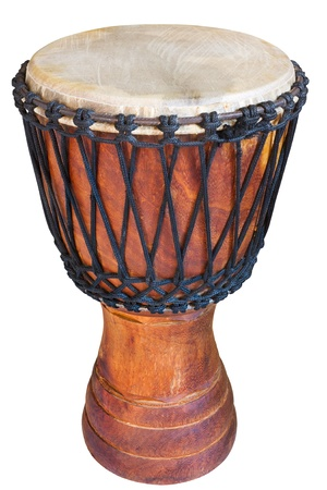 djembe, african percussion, handmade wooden drum with goat skin, ethnic musical instrument of carved wood and leather membrane Stock Photo