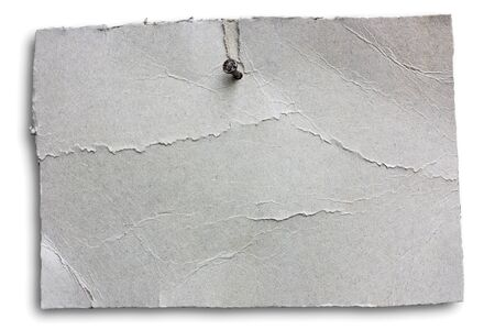 blank wrinkled signboard nailed, empty notice of grey cracked cardboard sheet hanging