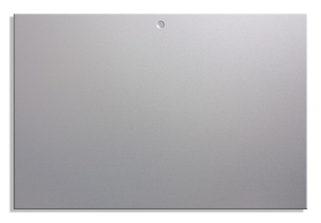 satined: empty notice of satin aluminum, blank sheet with hole for hanging