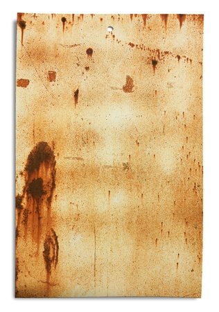 grunge signboard, old sheet of rusty iron, dirty empty metallic banner for sign and iscription photo