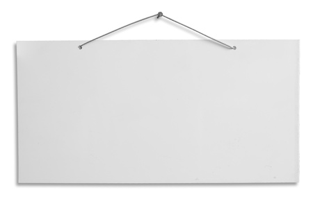 hanging sign: empty signboard, white blank lacquered aluminum sheet hanging with wire and nail, notice, announce, slab isolated, clipping path