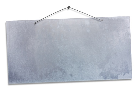 a signboard: empty aluminum sheet hanging with wire and nail, blank signboard isolated on white, empty grunge banner, clipping path