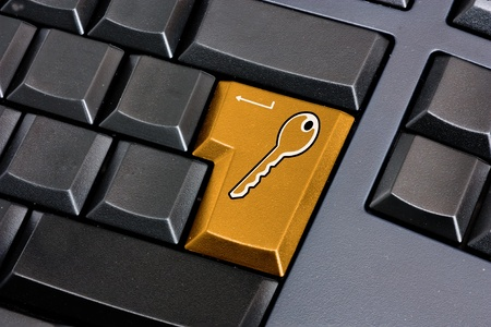 security key icon on computer keyboard - symbol of internet communication safeguard - access login - password protection Stock Photo - 9201607