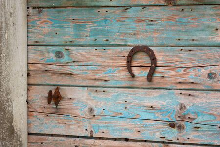 rusted: lucky horseshoe nailed to an old wooden door