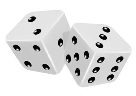 board games: pair of dice roll on the game table - vector illustration of gambling symbol