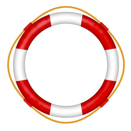 marine ship:  life buoy with rope - red and white lifebelt - sos help icon vector illustration Illustration