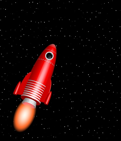 red little rocket ship flying in the starry space - cartoon style illustration of  spacecraft into the cosmos Stock Illustration - 9526703