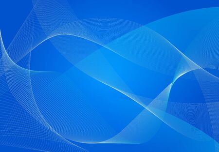 imaginary line: abstract blue background of fluttering lines and wavy strips Illustration