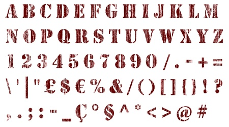 stencil: stencil distressed alphabet, numbers & signs isolated on white - set of grunge letters and digits   Stock Photo