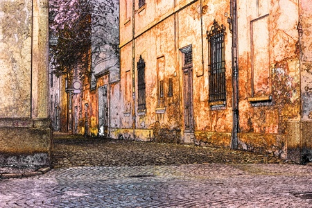 street corner: sketch of urban street in old town - romantic alley in artistic painting style