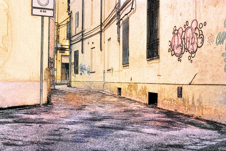 narrow street: sketch of urban street in old town - narrow dirty alley in painting style