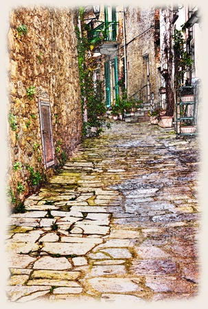 alley: sketch of urban street in old town, romantic alley in artistic painting style