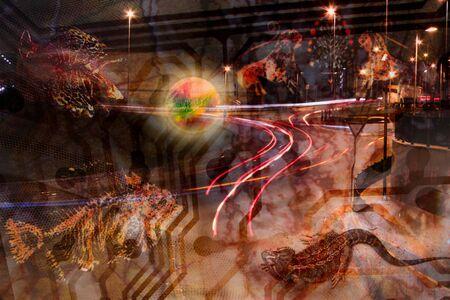 hallucination: strange creatures sabbath in the urban night - surreal hallucination, ghost, nightmare