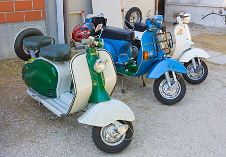 exposed: BONCELLINO DI BAGNACAVALLO (RA) ITALY - APRIL 17: Vespa and Lambretta exposed during the scooter meeting at feast of village Festa del Passatore on 17 apil 2011 in Boncellino di Bagnacavallo (RA) Italy