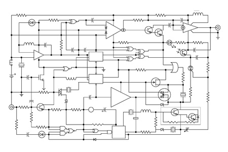 schematic diagram - project of electronic circuit - graphic design of electronic components and semiconductor Stock Photo - 10046163