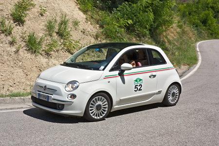 DOVADOLA, FC, ITALY - JULI 3: unidentified drivers on Fiat 500 at Colline di Romagna, historical italian rally, on Juli 3 2011 in Dovadola, FC, Italy