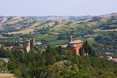 emilia romagna: castle, tower and sanctuary on the italian hills - landscape of Brisighella valley, Emilia Romagna, Italy Stock Photo