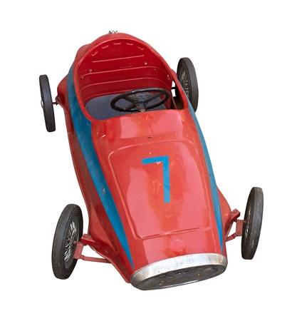 pedal: old pedal car for children - red vintage toy car