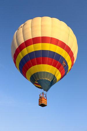 hot air balloon rises into the sky at Ferrara balloons festival on september 18 2010 in Ferrara, Italy