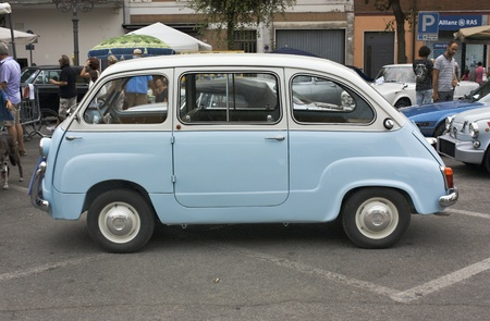 old cars exhibition: Fiat 600 multipla, minivan of the sixties, at festival of vintage Mostrascambio on september 4 2011 in Gambettola, Italy