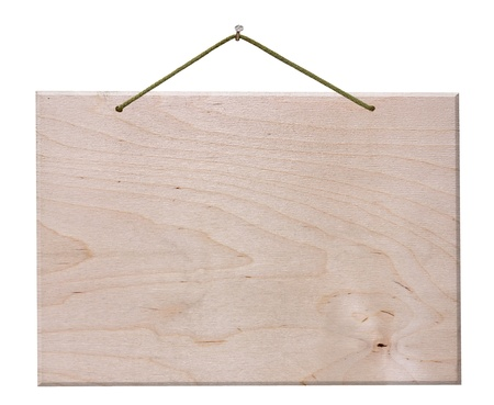 a placard: empty wooden signboard hanging with string and nail - blank wood notice board  isolated with clipping path