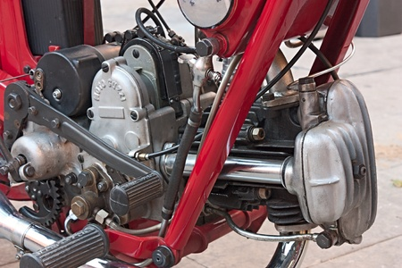 gran prix: IMOLA (BO) ITALY - OCTOBER 8: old motorcycles engine of Moto Guzzi - detail of vintage restored motorbike exposed during the italian meeting of old cars and motorcycle Luigi Musso Historic Gran Prix  on October 8, 2011 in Imola (BO) Italy Editorial