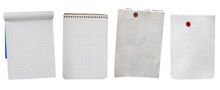 squared: set of empty sheets of paper isolated with clipping path - copy space collection of blank notebook and note pinned with red pin Stock Photo
