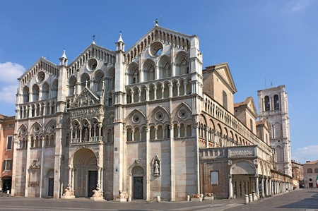 antique Ferrara cathedral - famous catholic landmark in Emilia Romagna, Italy Stock Photo