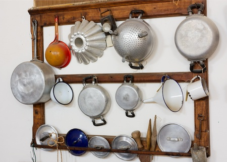 cooking ware: set of old kitchen tools - retro equipment of grandmother cooking Stock Photo