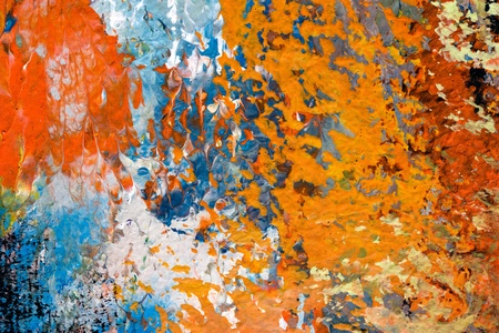 impressionism: brush strokes of oil painting on canvas - detail of impressionist art work - orange, red, blue, white abstract texture