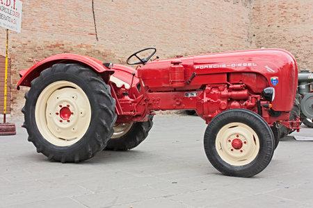 old tractors: Exhibition of old tractors: vintage tractor Porsche exhibit at Autunno forlimpopolese on october 10, 2010 in Forlimpopoli, Italy Editorial