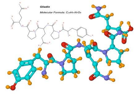 intolerancia: mol�cula de gliadina, componente del gluten es una prote�na presente en el trigo y otros cereales. Es el factor t�xico asociado con la enfermedad cel�aca
