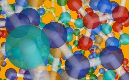 la qu�mica org�nica: Ilustraci�n de part�culas biol�gicas - resumen de antecedentes psicod�lico con la pelota y el s�mbolo de palos de los �tomos, mol�culas modelo gr�fico Foto de archivo - 12408687
