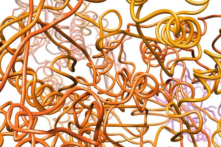 twisty: tangle of metallic wire abstract background - illustration of intricate, curved, distorted metallic wire Stock Photo