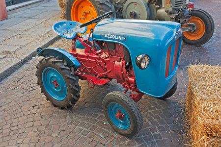 old italian tractors exposed at Festa de borg, vintage little tractor Azzolini exhibit on october 2, 2011 in Forli, Italy.